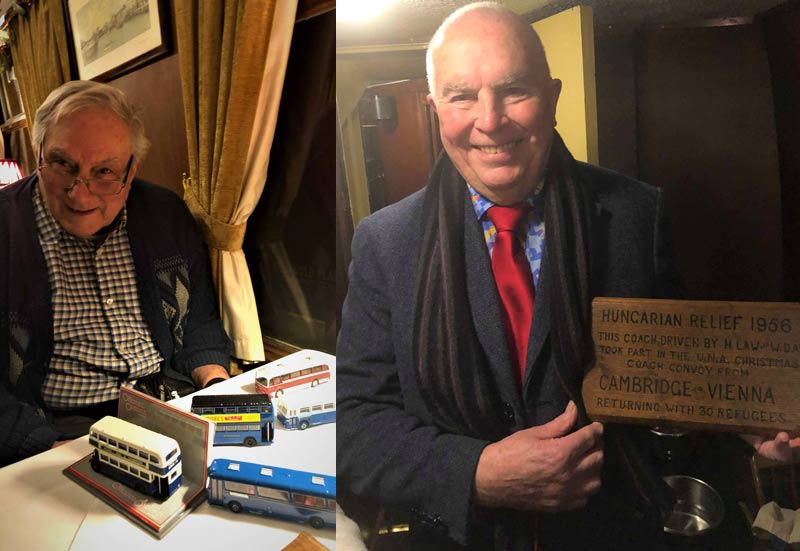 Bob Read with some memorabilia (left) Mac Law with a commemorative plaque from a bus driven by his father (right)